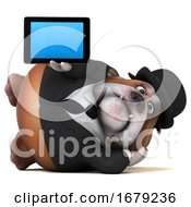 Poster, Art Print Of 3d Gentleman Or Business Bulldog On A White Background