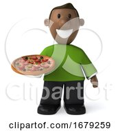 3d Casual Black Man On A White Background