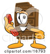 Chocolate Candy Bar Mascot Cartoon Character Holding A Telephone