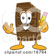 Clipart Picture Of A Chocolate Candy Bar Mascot Cartoon Character Holding A Pencil by Toons4Biz