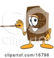 Chocolate Candy Bar Mascot Cartoon Character Holding A Pointer Stick