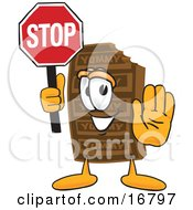 Clipart Picture Of A Chocolate Candy Bar Mascot Cartoon Character Holding A Stop Sign by Toons4Biz
