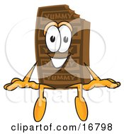 Clipart Picture Of A Chocolate Candy Bar Mascot Cartoon Character Sitting by Toons4Biz