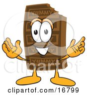 Poster, Art Print Of Chocolate Candy Bar Mascot Cartoon Character With Welcoming Open Arms