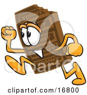 Clipart Picture Of A Chocolate Candy Bar Mascot Cartoon Character Running