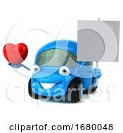 Poster, Art Print Of 3d Little Blue Car Mechanic On A White Background
