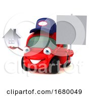10/15/2019 - 3d Little Red Car Mechanic On A White Background