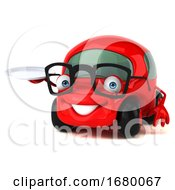 10/15/2019 - 3d Little Red Car On A White Background