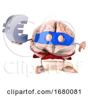 10/15/2019 - 3d Super Brain Character On A White Background