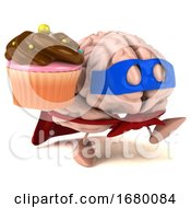 3d Super Brain Character On A White Background
