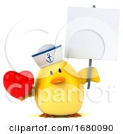 Poster, Art Print Of 3d Yellow Bird Sailor On A White Background