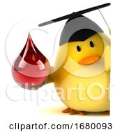 3d Yellow Bird Graduate On A White Background