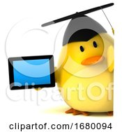 Poster, Art Print Of 3d Yellow Bird Graduate On A White Background
