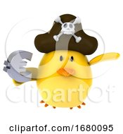 10/15/2019 - 3d Yellow Bird Pirate On A White Background