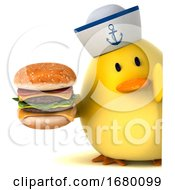 3d Yellow Bird Sailor On A White Background