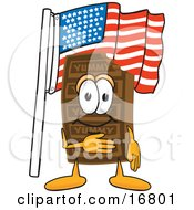 Clipart Picture Of A Chocolate Candy Bar Mascot Cartoon Character Pledging Allegiance To An American Flag by Toons4Biz