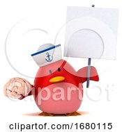 10/15/2019 - 3d Chubby Red Bird Sailor On A White Background