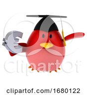 3d Red Bird Graduate On A White Background
