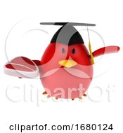 Poster, Art Print Of 3d Red Bird Graduate On A White Background