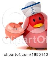 3d Chubby Red Bird Sailor On A White Background