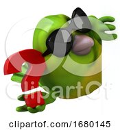10/15/2019 - 3d Green Bird On A White Background