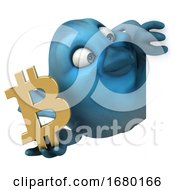 Poster, Art Print Of 3d Blue Bird Holding A Bitcoin Symbol On A White Background