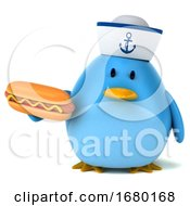 Poster, Art Print Of 3d Blue Bird Sailor On A White Background