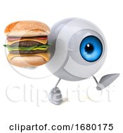3d Blue Eyeball Character On A White Background