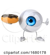 10/15/2019 - 3d Blue Eyeball Character On A White Background