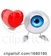 Poster, Art Print Of 3d Blue Eyeball Character On A White Background