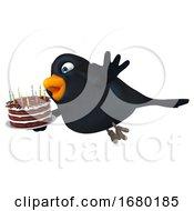 3d Black Bird Holding A Birthday Cake On A White Background