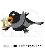 3d Black Bird Holding A Bitcoin Symbol On A White Background