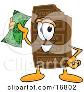 Clipart Picture Of A Chocolate Candy Bar Mascot Cartoon Character Holding A Dollar Bill by Toons4Biz