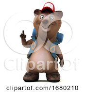 3d Brown Bear Backpacker On A White Background