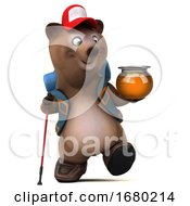 3d Brown Bear Hiker On A White Background