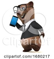 3d Brown Business Bear Holding A Cell Phone On A White Background