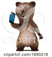 3d Brown Bear Holding A Cell Phone On A White Background