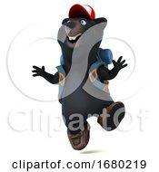 3d Black Bear Backpacker, on a White Background by Julos #COLLC1680219-0108