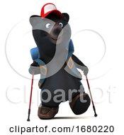 3d Black Bear Backpacker On A White Background