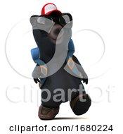 3d Black Bear Hiker On A White Background