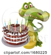 3d Crocodile Holding A Birthday Cake On A White Background