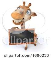 3d Giraffe Holding A Blackboard On A White Background