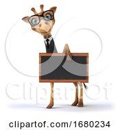 10/15/2019 - 3d Business Giraffe Holding A Blackboard On A White Background