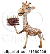 3d Giraffe Holding A Birthday Cake On A White Background