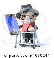 Poster, Art Print Of 3d Grandpa Holding A Smartphone