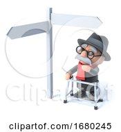3d Grandpa Looks At A Road Sign