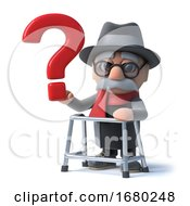 Poster, Art Print Of 3d Cartoon Old Man With Walking Frame Holds A Question Mark