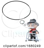 3d Old Man With Thought Bubble