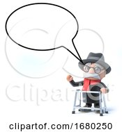 3d Old Man With Speech Bubble