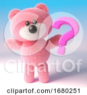 3d Teddy Bear With Pink Fluffy Fur Holding A Pink Question Mark Symbol 3d Illustration